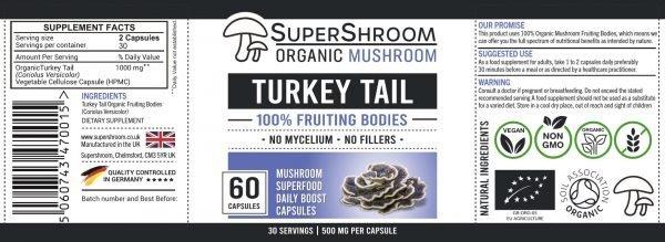 Turkey Tail Mushroom Supplement Label
